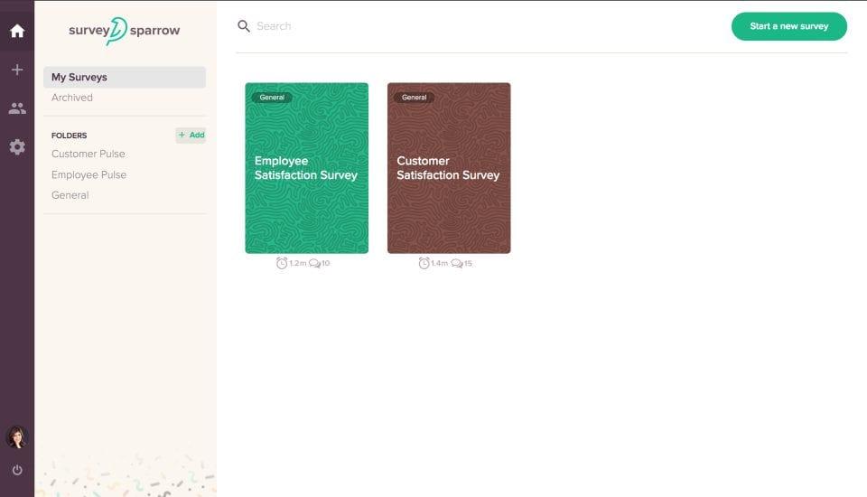 Панель управления пользователя в опроснике Sparrow, показывающая опрос удовлетворенности сотрудников и опрос удовлетворенности клиентов